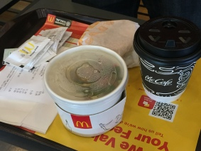 Bubur Ayam (Porridge) + Chicken Muffin + McCafe Premium Roast